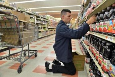 Mark Feole stocked the juice aisle at the Market Basket in Chelsea. The chain has more than 70 stores.